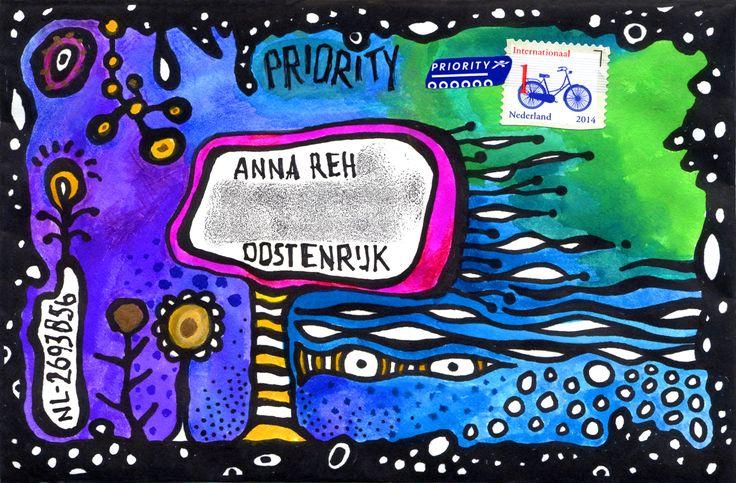 Gemaakt door El' Papel - geïnspireerd door Hundertwasser :-)  Envelop voor een Postcrossing-adres) NL-2693856)