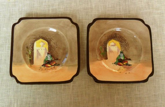 """Two Square Side Plates from Royal Doulton """"Moorish Gateway"""" series c.1928 by VtgDreamCollectibles, Etsy"""
