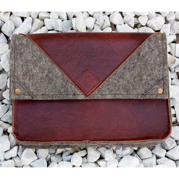 Leather and Felt Clutch Ereader Case by HuzzahHandmade  #hvnyteam