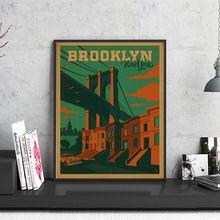 アメリカブルックリンニューヨーク市旅行ポスターレトロクラフト紙ヴィンテージ印刷ポスターウォールステッカーホームバーパブカフェ装飾(China (Mainland))