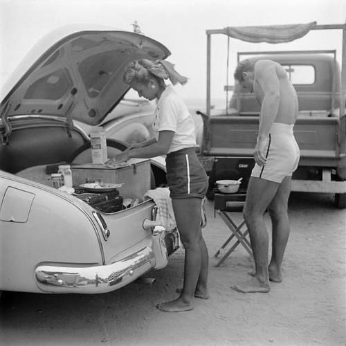 Cooking at the beach, 1950s (since the hotel del coronado is on Coronado Island and is right on the beach, here is an idea about days spent at the beach in the 1950s) murder will occur on the beach at night