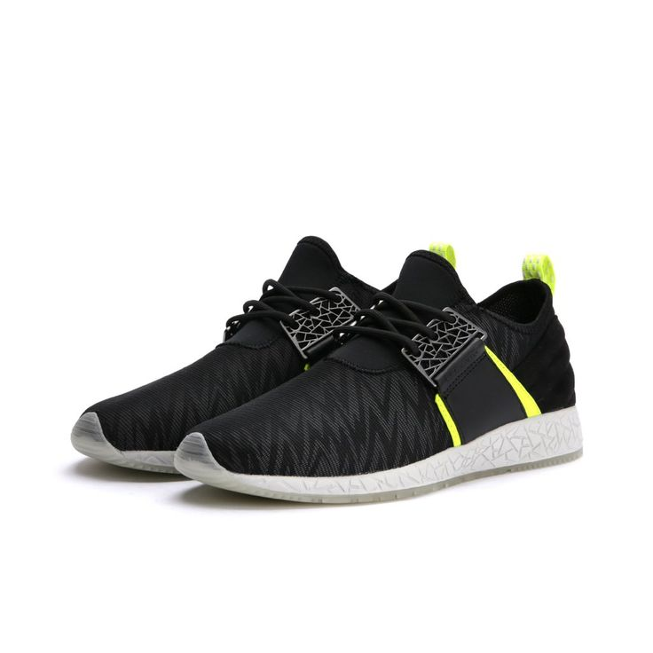 KATSURO BLACK YELLOW SHOES Night Runner!! Glow in the dark sole, Reflective zig-zag design, I feel like Pablo, free coupon code, free shipping...can't miss it!!