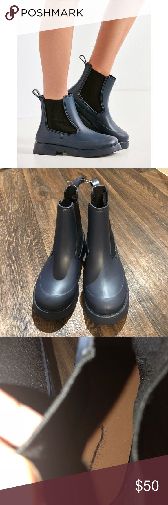 """Jeffrey Campbell El Niño Chelsea rain boot New never been used. Minor scuffing from store / being tried on. Size 7. A classic Chelsea profile, oversized goring panels and a grippy ridged sole define a durable rain boot outfitted with a cushioned footbed and roomy round toe. 1 1/4"""" heel 6"""" shaft Pull-on style Cushioned footbed Synthetic upper, lining and sole Jeffrey Campbell Shoes Winter & Rain Boots"""