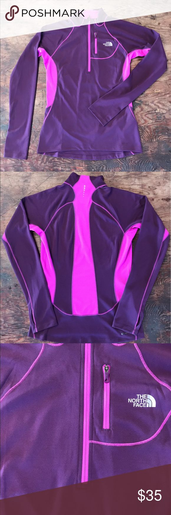 The North Face long sleeve pullover Pink and Purple pullover.  Women Size Small. Front pocket. The North Face Tops Sweatshirts & Hoodies