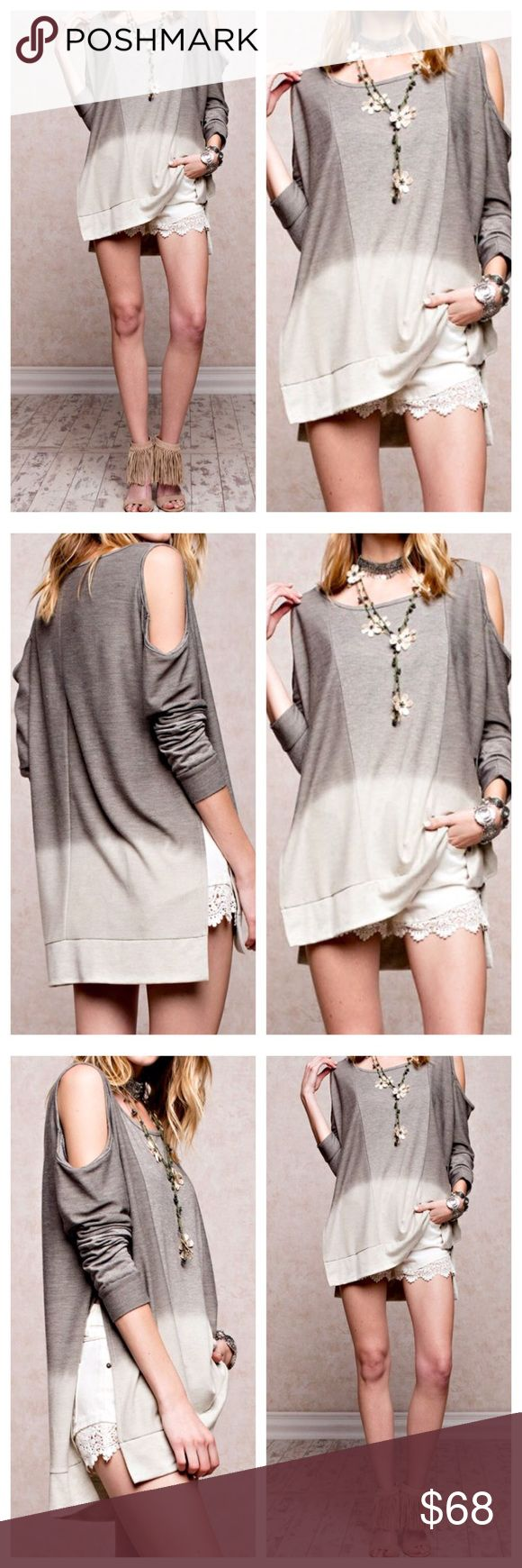 Cold Shoulder Ombre Cape Dip Dye T ShirtDress NWOT Super SOFT! Cozy Lightweight Pullover Cold Shoulder, Dip Dyed, Boxy Fit Simple French Terry Fabric Side Vents MADE IN THE USA! Color is Oatmeal/Olive Grey Shop our Facebook Shop! https://www.facebook.com/BohoLocoFashionBoutique/ Shop us on Pinterest! https://www.pinterest.com/BohoLocoFashion Shop us on Twitter! https://twitter.com/FashionBohoLoco Follow us on Instagram! https://instagram.com/FashionBohoLoco Shirt Dress Crochet Striped…