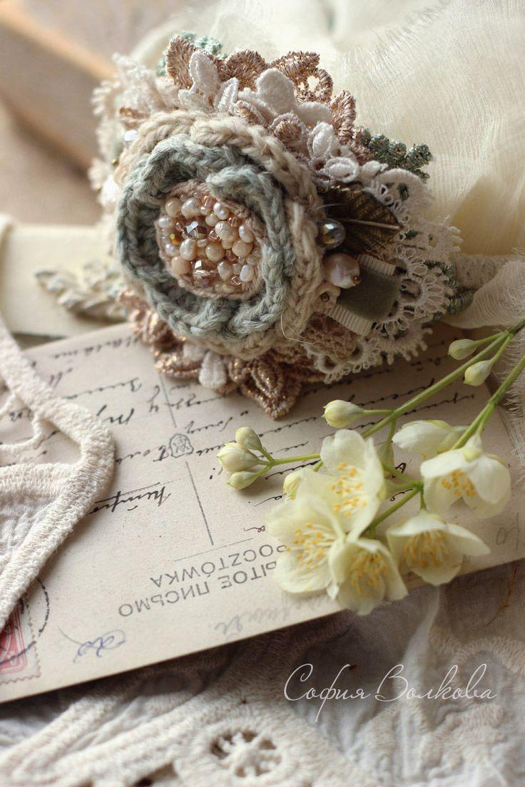 """Купить Ободок """"Зефир и мята"""" - ободок, ободок с цветком, диадема, украшение для невесты, украшение в прическу"""