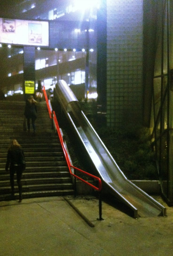 Slide/stairs, entrance Utrecht Overvecht Station, NL