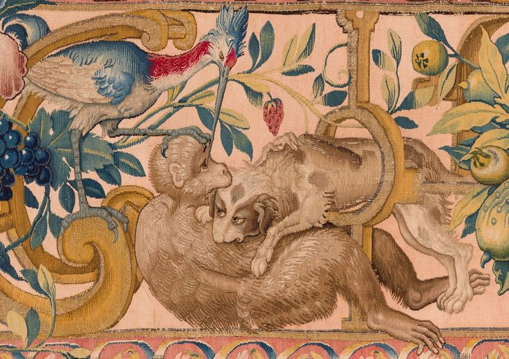 / Pies walczący z małpą i czapla z arrasu podokiennego, Zamek Królewski na Wawelu Państwowe Zbiory Sztuki / Dog fighting with a monkey and heron from Under Window Tapestry, Wawel Royal Castle – State Art Collection / http://muzea.malopolska.pl/en/obiekty/-/a/4869610/13756333