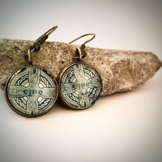 Handmade vintage Irish postal stamp earrings