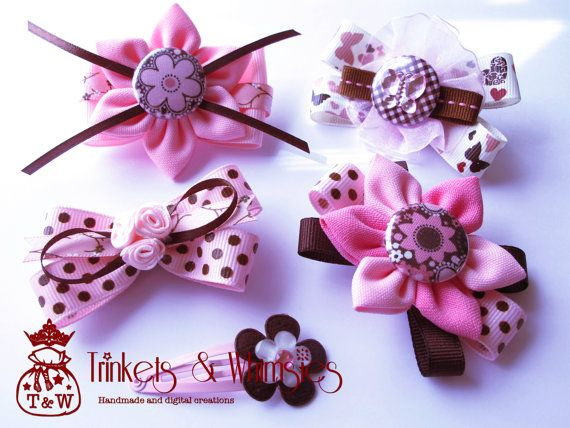 Pinks and Chocolates Hairclip Set by TrinketsAndWhimsies on Etsy, $14.00