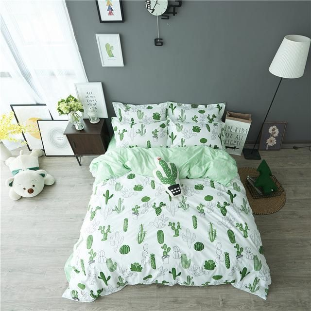 VClife 3 PCS Floral Duvet Cover Sets Cotton Cactus Design Bedding Sets for Kids Adults Soft Green Bedding Collection Queen