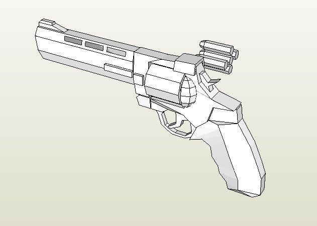 Mô hình giấy Taurus Raging Bull Revolver Model 454 thiết kế bởi Smilie | Papercraft Taurus Raging Bull Revolver Model 454 create by Smilie.