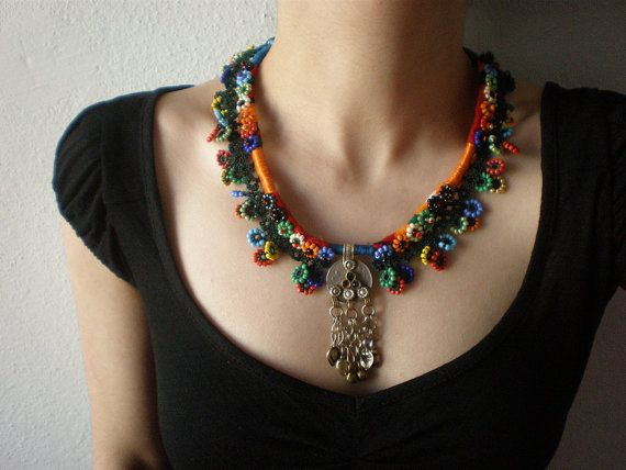 Old World - Summer ...  Crochet / Embroidery Beaded Necklace - Beadwork via Etsy