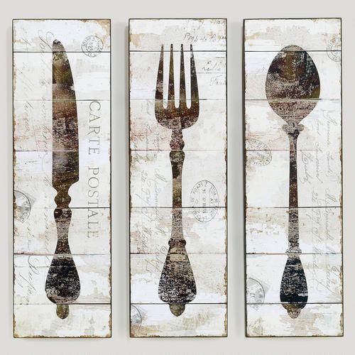 Wood Wall Decor For Kitchen : Natalie wood panel wall art knife fork and spoon for