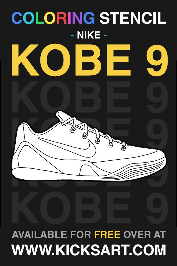 Nike Kobe 9 Coloring Stencil Color Sneaker Art Coloring Pages