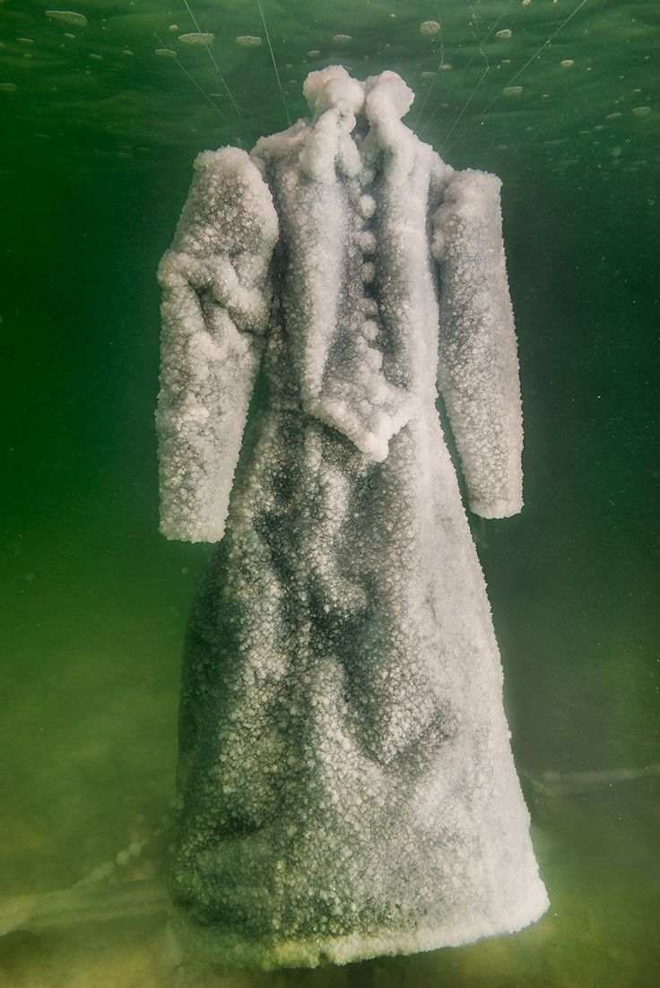 Israeli artist Sigalit Landau decided to submerge a black gown in the Dead Sea. The gown spent 2 months in the salt-rich waters.