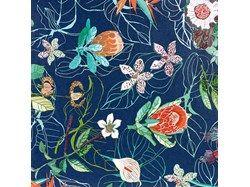 Blue garden wall paper