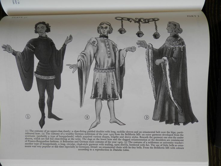 (i) The costume of an upper-class dandy: a close-6tting plded doublet with long, sacklike sleeves and an ornamental belt over the hips; parti-.coloured hose. (2) The costume of a wealthy German nobleman of the year 1405 from the Bellifortis MS: an outer garment developed from the overtunic (probably a type of houppelande) which acquired various shapes, lengths and sleeve styles. Beneath the garment one sees the under sleeves, which are full but close-fitting at the wrist.