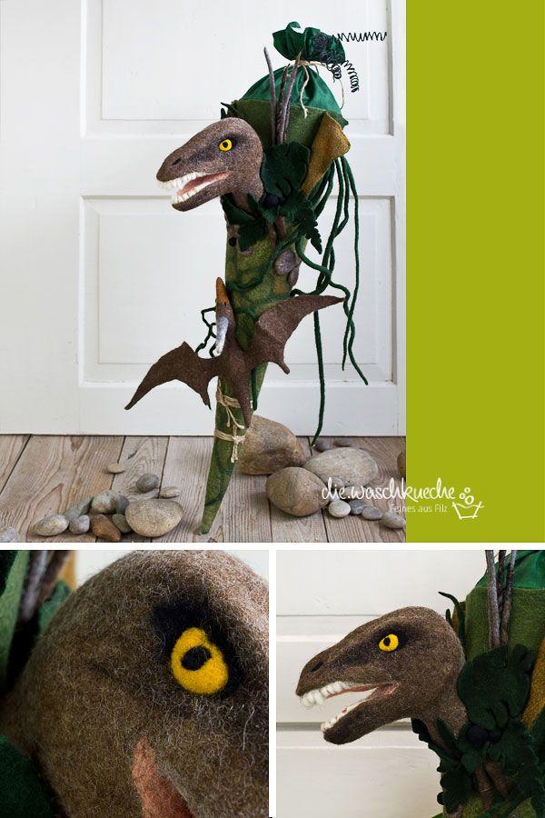 Schultüte Dinosaurier / Raptor www.diewaschkueche.com
