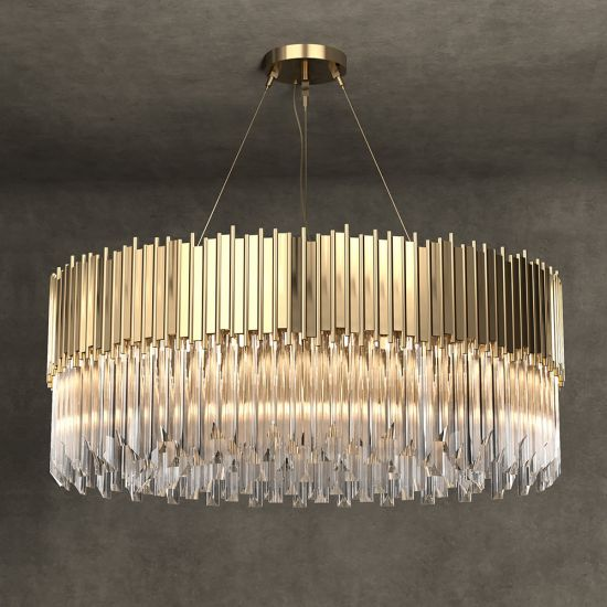 Italian Round Designer Gold Plated Crystal Chandelier in ...