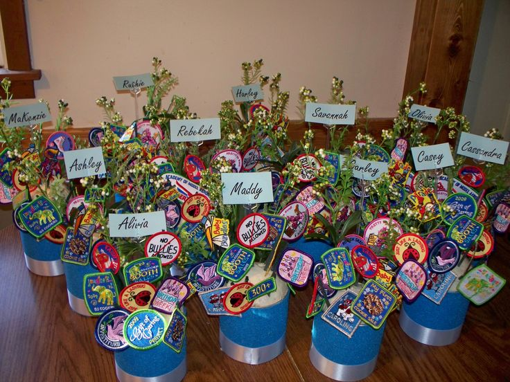 i made these 'patch bouquets' for our court of awards a few years ago.  they turned out so cute!
