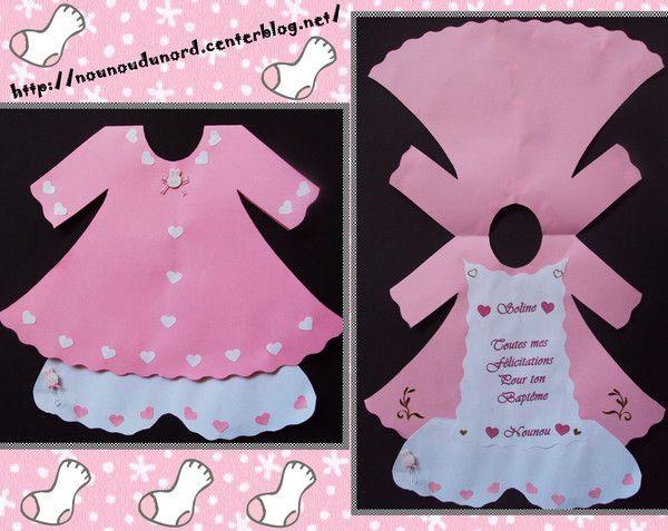 j'ai réalisé une jolie carte toute rose en forme de robe avec des petits coeurs et à l'intérieur un message de félicitation