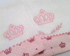 Fralda de Ombro e boca coroa rosa