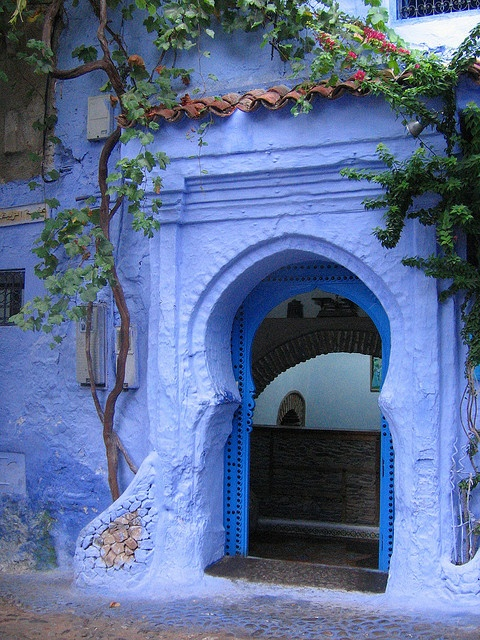 Doorway / Chefchaouen, MorrocoInteriors Design Offices, Moroccan Design, Blue Doors, Blue Gardens, Periwinkle, Places, Bohemian Home, Doors Colors, Interiors Ideas