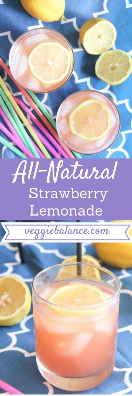 Low Sugar Strawberry Lemonade | Fresh, all-natural, and easy lemonade. Perfect for the summer and next cookout