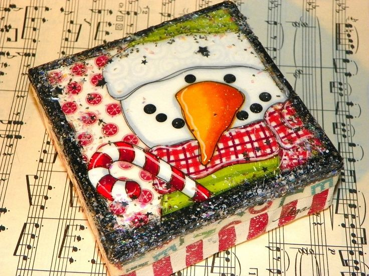 Candy Cane Snowman ORIGINAL mixed media PAINTING canvas ART by Megan ...
