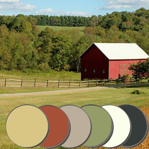 Inspired by the warm and bright colors of a classic red barn in a golden field, we pairedPointing, Terre D' Egypte, Hay, Light Gray, Studio Green, & Olive to exude...