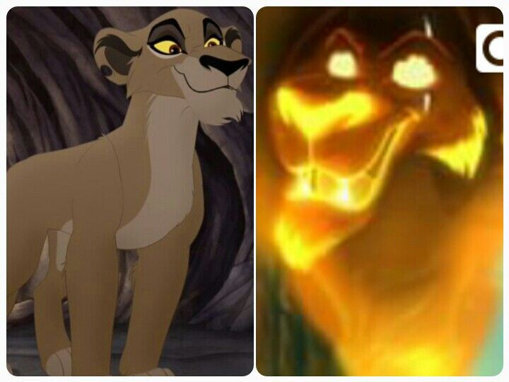 "Here are Scar ( David Oyelowo) & Zira (Nika Futterman) from ""The Lion Guard"". Their original voices are Jeremy Irons (The Lion King) & Suzanne Pleshette (The Lion King 2: Simba's Pride)"