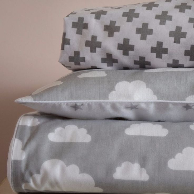 100%COTTON Cot Bed Duvet Cover Set & Fitted Sheet Grey Stars Clouds nursery