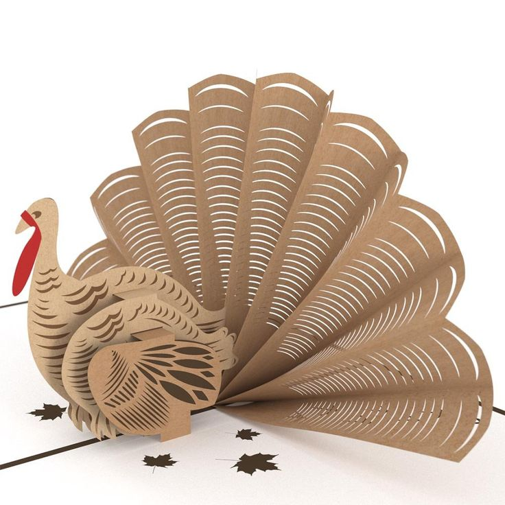The front of this perfect pop up Thanksgiving card displays a handsome turkey with intricately detailed laser-cut plumage. Open the rich chocolate brown card to reveal a dapper three-dimensional turke