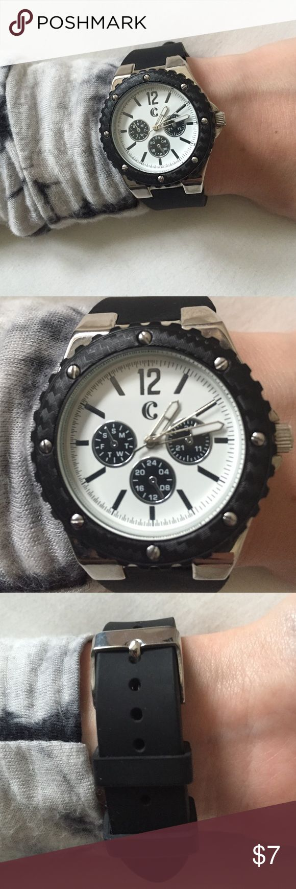 Black sporty watch Sport watch with black rubber band, white face, and silver details• like new• still works, just needs a new battery Charming Charlie Accessories Watches