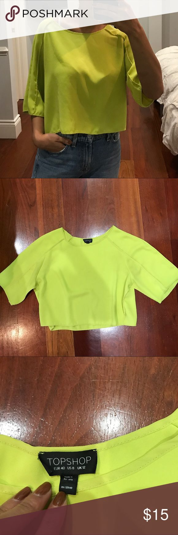 Neon top shop cropped blouse Slightly cropped boxy fit blouse. No damage Topshop Tops Blouses