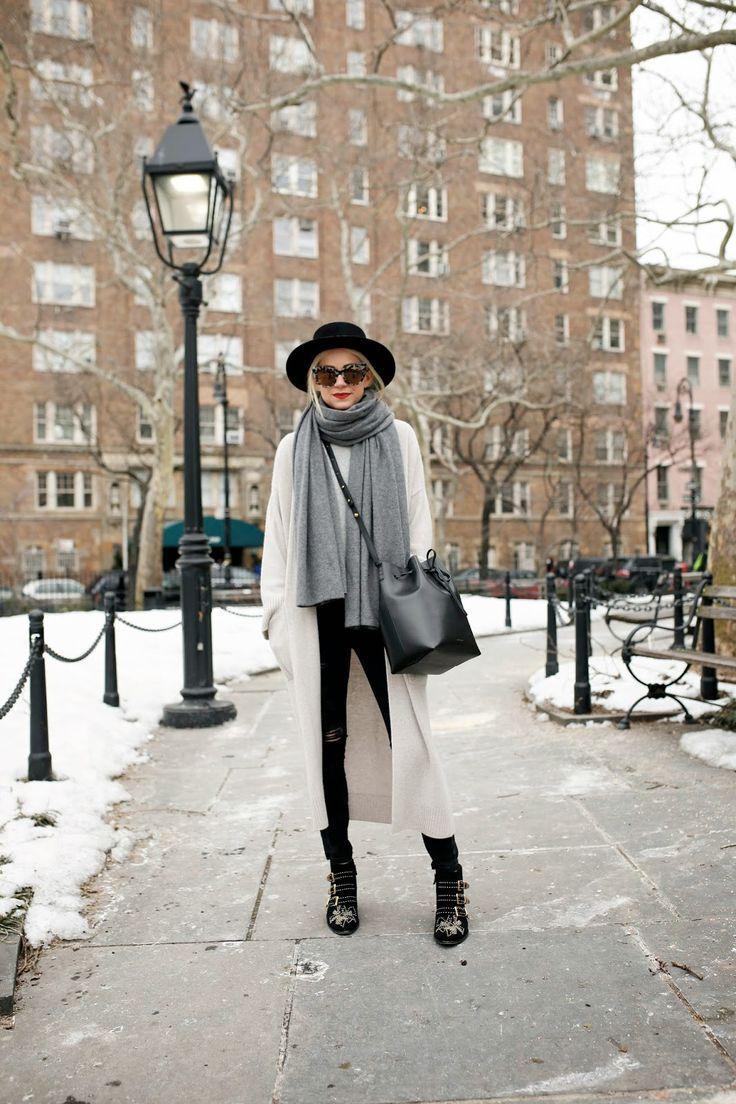 Atlantic-Pacific // knit layer look, winter, fedora, hat, Mansur Gavriel bucket bag, Chloé susanna boots