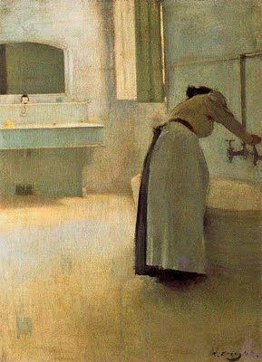 Ramon Casas i Carbó, 1866–1932), Préparation du bain. Ce peintre nous livre dans son oeuvre des gris subtils, parmi les plus beaux gris de la peinture. Ici, gris vert et gris jaune. JT