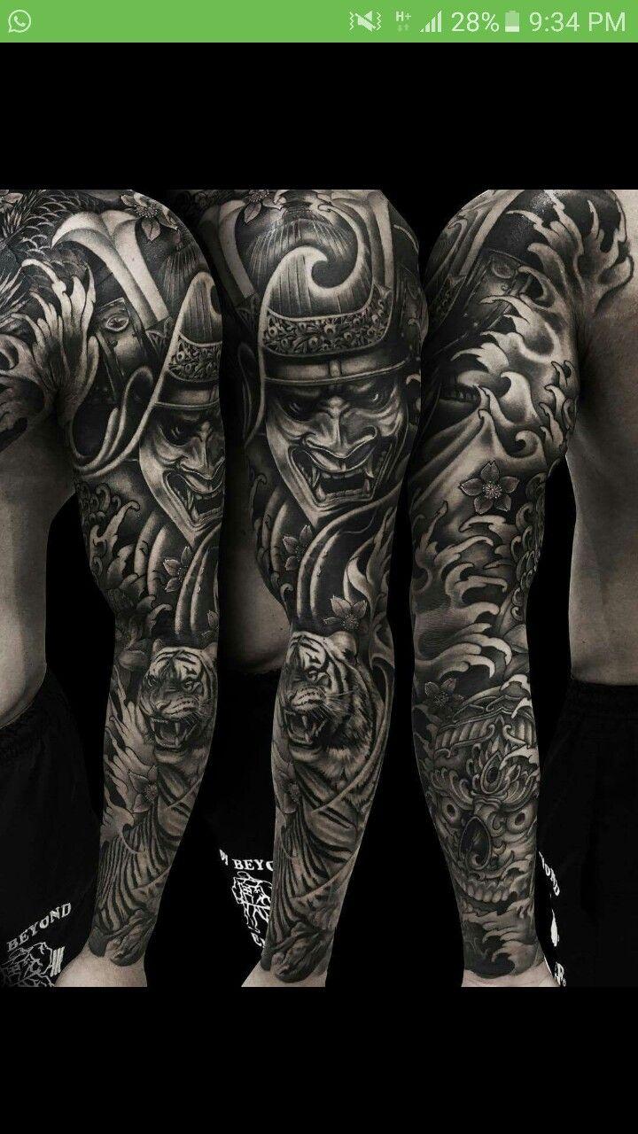 Japanese calf tattoos by durb - Samurai Sleeve