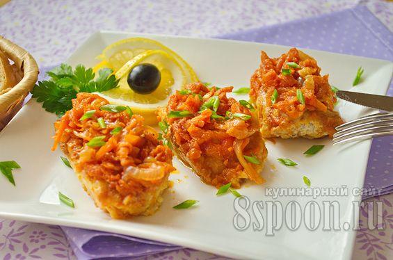 рыба с морковью и луком в духовке рецепт с фото