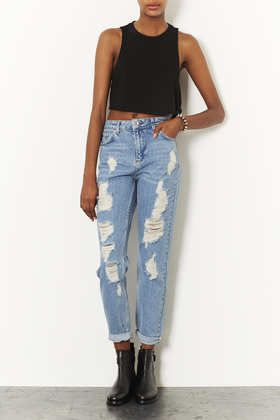 MOTO Ripped High Waisted Jeans - Has distressed and deconstructed