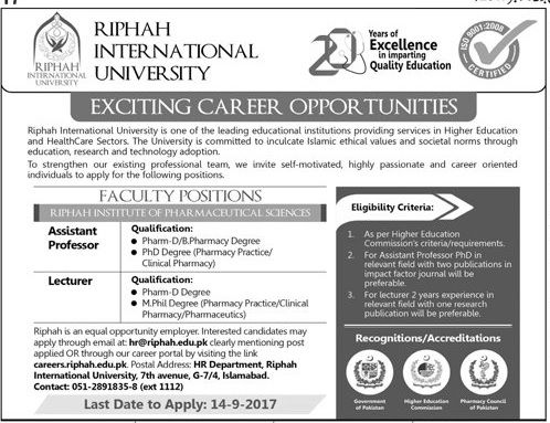 Riphah International University Jobs 2017 In Islamabad For Assistant Professor And Lecturer http://www.jobsfanda.com/riphah-international-university-jobs-2017-islamabad-assistant-professor-lecturer/