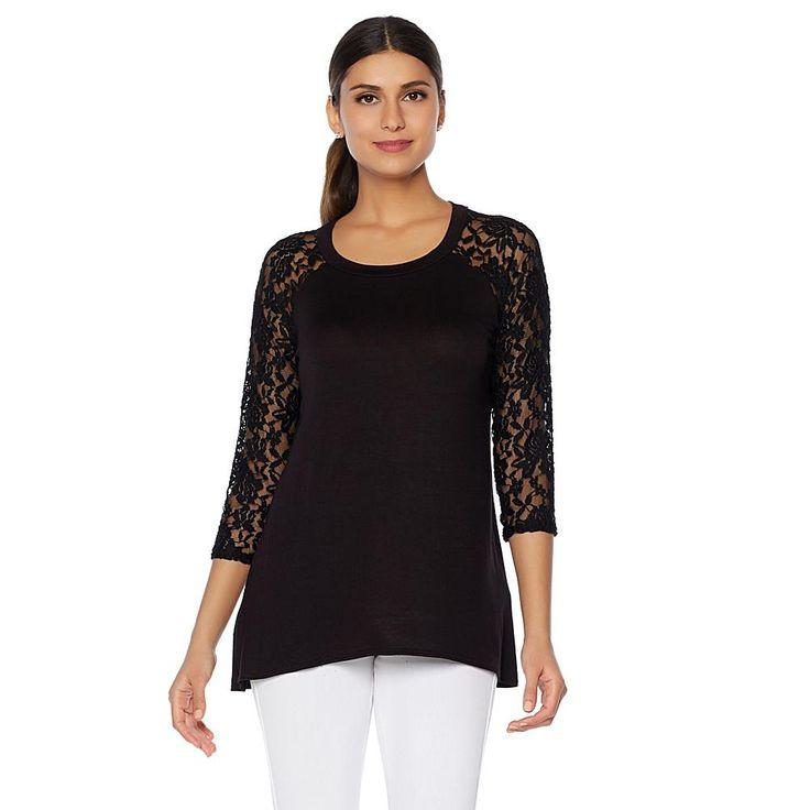 Rhonda Shear Raglan Tee with Lace Sleeves - Black