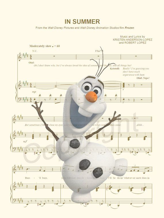 Here is a sheet music art print of Olaf from Disneys Frozen. This is perfect for any Olaf/Frozen/Disney fanatic!  We print this on quality photo paper, which measures approximately 8.5x11, and ship it in a heavy-duty envelope to ensure it arrives intact.  11x15 Poster: $20.00  Take advantage of our Buy 2 Prints, Get 1 Free special! Simply purchase any two prints in our shop, and let us know in a note which print youd like as your third.  We do customizations on almost all of our pri...