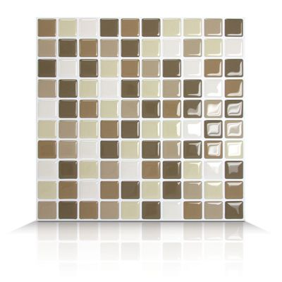 Like its name implies, this Harmony Mosaik Tile can be combined with any kind of decor under the sun. Don't limit yourself to using these self adhesive tiles in your kitchen or your bathroom, use them in your bedrooms, in or to brighten up your laundry room or your arts and crafts room. Smart Tiles are versatile and virtually hassle free. They are easy to install and if you want to remove them, heat the surface of the wall with a hair dryer. It's as simple as that.