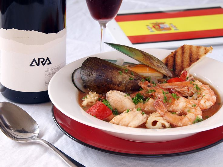 Zarzuela is a type of fish and seafood stew that originated in Spain, a very rich dish made out of mixed seafood such as mussels, scallops, lobster, prawns, clams, fish, squid and / or crabs cooked in a good stock coloured with saffron.