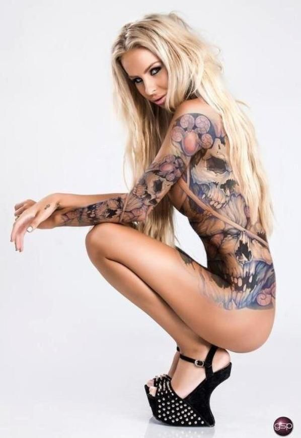 Hot Blonde Nude Dolphin Tattoo 48