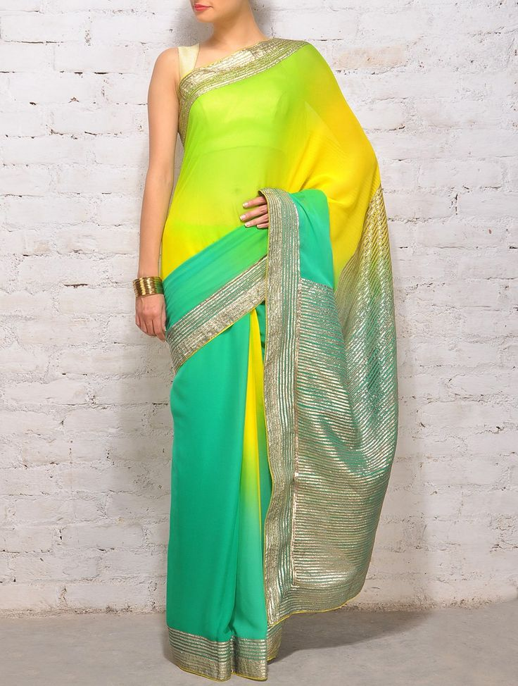 Buy Multi Color with Gold Accents Shaded Green Gota Work Georgette Saree 60 Gram Sarees Printed Online at Jaypore.com