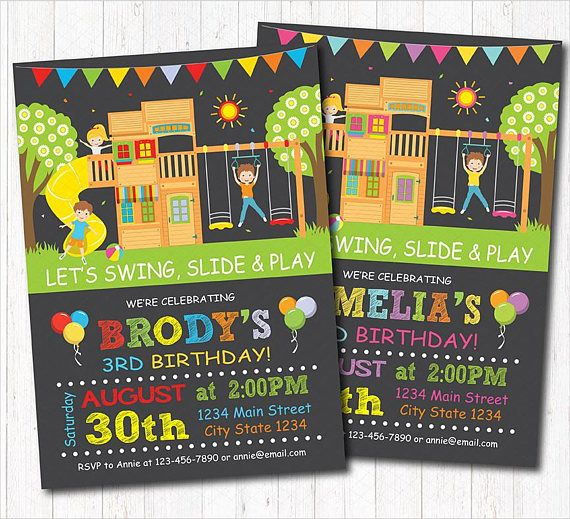 Playground Birthday Invitation Park Birthday Invitation play