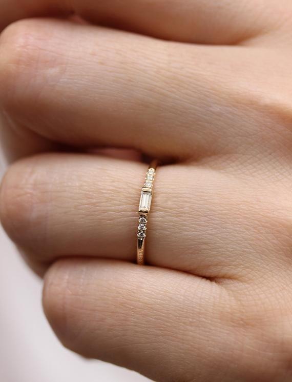 14K Gold Baguette Diamond Ring Engagement Ring,Simple Baguette Band Diamond Engagement Ring,Gold Dainty Stacking Ring